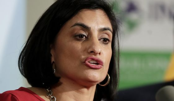 Seema Verma, administrator of the Centers for Medicare and Medicaid Services, speaks during a news conference in Newark, N.J. (AP Photo/Julio Cortez) ** FILE **