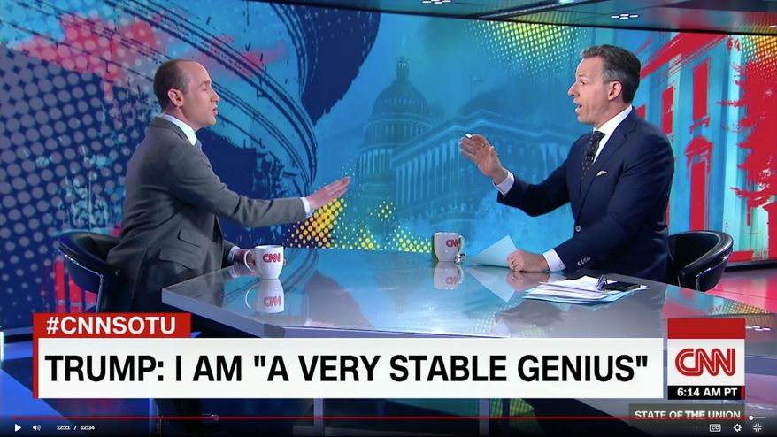 """White House adviser Stephen Miller appears on CNN anchor Jake Tapper Sunday show. After an exchange, Mr. Tapper cut off Mr. Miller's mic, saying, """"I think I've wasted enough of my viewers' time."""" (CNN.com)"""