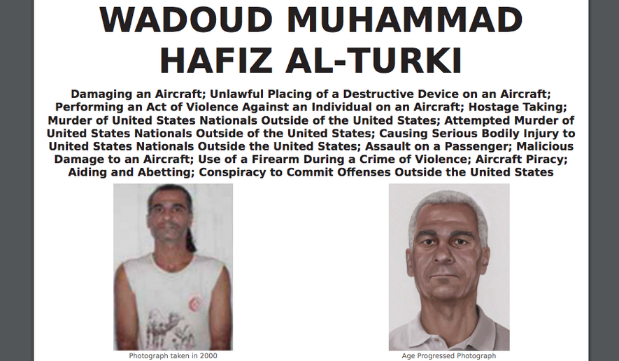An FBI poster showing an age-progression image for Wadoud Muhammad Hafiz al-Turki, one of four alleged Pan Am Flight 73 hijackers at large. (FBI.gov)
