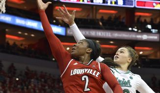 Louisville forward Myisha Hines-Allen (2) goes for a layup past the defense of Notre Dame forward Kathryn Westbeld (33) during the first half of an NCAA college basketball game, Thursday, Jan. 11, 2018, in Louisville, Ky. (AP Photo/Timothy D. Easley)