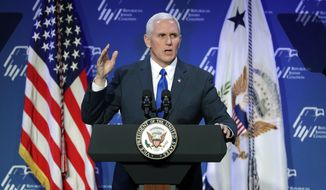 FILE--In this Feb. 24, 2017, file photo, Vice President Mike Pence speaks at the Republican Jewish Coalition annual leadership meeting in Las Vegas. Pence plans to visit Las Vegas and a nearby air base on Thursday, Jan. 11, 2018, to highlight an industrial entrepreneurship program. (AP Photo/John Locher, file)