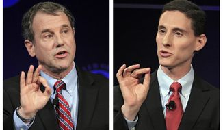 FILE – In this combination of Oct. 15, 2012, file photos, U.S. Sen. Sherrod Brown, D-Ohio, left, and his Republican challenger, Ohio state Treasurer Josh Mandel, right, are shown during a debate at the City Club in Cleveland. Mandel was again seeking the Republican party nomination to challenge Brown in the 2018 general election, but announced Friday, Jan. 5, 2018, in an open letter that he decided to drop his bid, citing his wife's health. (AP Photo/Tony Dejak, File)