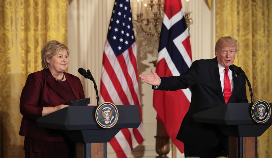 In this Wednesday, Jan. 10, 2018 file photo, US President Donald Trump speaks during a joint news conference with Norwegian Prime Minister Erna Solberg in the East Room of the White House in Washington. Africans woke up on Friday Jan. 12, 2018 to find President Donald Trump taking an interest in their continent. Using vulgar language, Trump on Thursday questioned why the U.S. would accept more immigrants from Africa rather than places like Norway in rejecting a bipartisan immigration deal. (AP Photo/Manuel Balce Ceneta, File)
