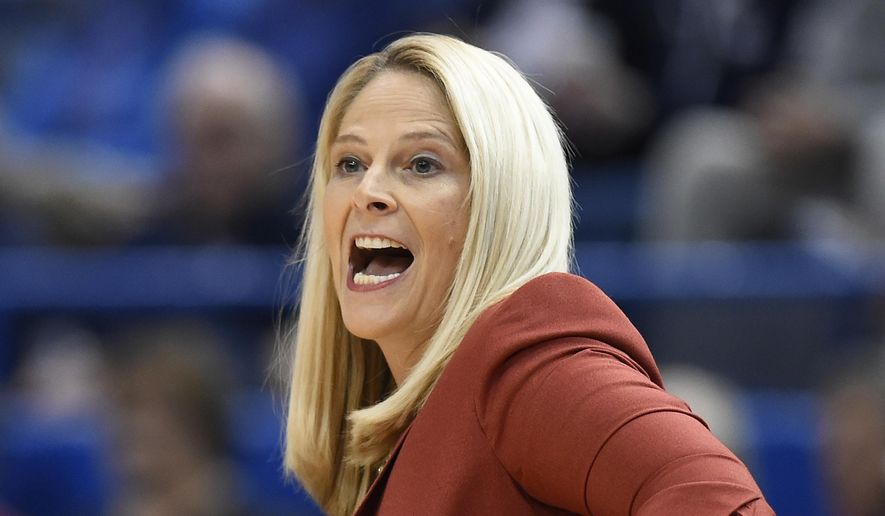 FILE - In this Nov. 19, 2017, file photo, Maryland head coach Brenda Frese calls out to her team during the first half an NCAA college basketball game against Connecticut, in Hartford, Conn. (AP Photo/Jessica Hill, File) **FILE**
