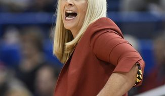 FILE - In this Nov. 19, 2017, file photo, Maryland head coach Brenda Frese calls out to her team during the first half an NCAA college basketball game against Connecticut, in Hartford, Conn. The roster of the three-time defending Big Ten champions has been whittled down to nine players. Maryland women's basketball coach Brenda Frese isn't the least bit discouraged, mainly because she's dealt with a whole lot worse, on and off the court. (AP Photo/Jessica Hill, File)