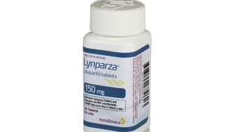 This photo provided by AstraZeneca shows a bottle of Lynparza. On Friday, Jan. 12, 2018, the Food and Drug Administration approved AstraZeneca PLC's Lynparza, the first drug aimed at women with advanced breast cancer caused by an inherited flawed gene. (Courtesy of AstraZeneca via AP)