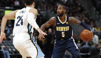 Denver Nuggets guard Will Barton, right, looks to pass the ball as Memphis Grizzlies forward Dillon Brooks defends in the second half of an NBA basketball game Friday, Jan. 12, 2018, in Denver. (AP Photo/David Zalubowski)