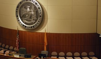 The New Mexico Senate chambers await the arrival of lawmakers on Friday, Jan. 12, 2018, in Santa Fe, N.M. Criminal justice initiatives and state spending increases for public education, law enforcement, Medicaid and economic development are at the top of the agenda at the new Mexico Legislature prepares for a 30-day session beginning Tuesday, Jan. 16. (AP Photo/Morgan Lee)