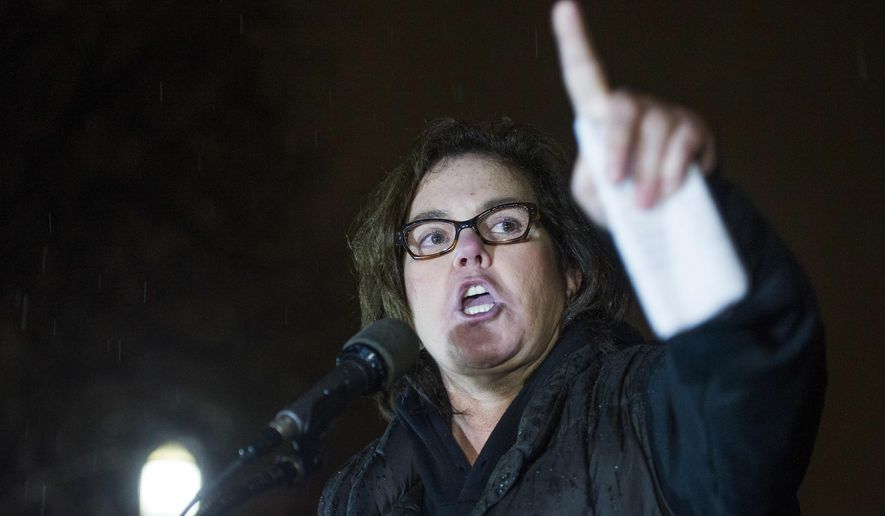 Rosie O'Donnell speaks at a rally calling for resistance to President Donald Trump in Lafayette Park in front of the White House in Washington, prior the president's address to a joint session of Congress, Tuesday, Feb. 28, 2017. (AP Photo/Cliff Owen) **FILE**