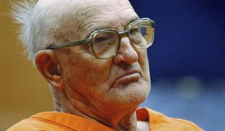 "FILE - In this Jan. 7, 2005, file photo, Edgar Ray Killen sits in court in Philadelphia, Miss. Killen, a former Ku Klux Klan leader who was convicted in the 1964 ""Mississippi Burning"" slayings of three civil rights workers, died in prison at the age of 92, the state's corrections department announced Friday, Jan. 12, 2018. (AP Photo/Rogelio V. Solis, File)"