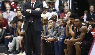 Texas A&M coach Billy Kennedy stands on the sideline during the second half of the team's NCAA college basketball game against Alabama, Saturday, Dec. 30, 2017, in Tuscaloosa, Ala. (AP Photo/Brynn Anderson)