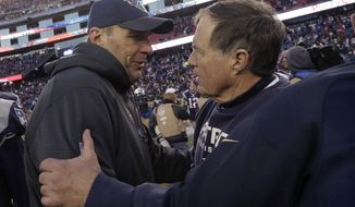 FILE - In this Dec. 20, 2015, file photo, Tennessee Titans then-interim head coach Mike Mularkey, left, speaks to New England Patriots head coach Bill Belichick after their NFL football game, in Foxborough, Mass. The Titans and Patriots play in a divisional playoff game on Saturday, Jan. 13, 2018, in Foxborough, Mass. (AP Photo/Steven Senne, File)