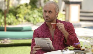 """This image released by FX shows Edgar Ramirez as Gianni Versace in a scene from """"The Assassination of Gianni Versace: American Crime Story,"""" premiering Jan. 17, on FX.  (Jeff Daly/FX via AP)"""