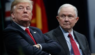 FILE - In this Dec. 15, 2017, file photo, President Donald Trump sits with Attorney General Jeff Sessions during the FBI National Academy graduation ceremony in Quantico, Va. Late last year, lawyers for Trump expressed optimism that special counsel Robert Mueller was nearing the end of his probe of Russias interference in the 2016 election. But if there was hope in the White House that Trump might be moving past an investigation that has dogged his presidency from the start, 2018 is beginning without signs of abatement.(AP Photo/Evan Vucci, File)