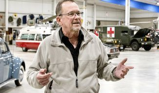 In this Monday, Dec. 4, 2017 photo, Larry Finley, executive director of the Mid America Museum of Aviation and Transportation, talks about the displays at the Sioux City, Iowa, museum. The museum features transportation and military exhibits with special emphasis on aviation history. (Tim Hynds/Sioux City Journal via AP)