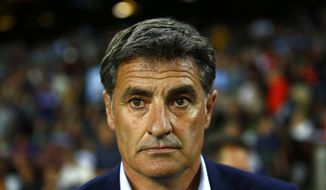 FILE - In this Saturday, Oct. 21, 2017 file photo, Malaga's coach Michel Gonzalez looks on prior of the Spanish La Liga soccer match between FC Barcelona and Malaga at the Camp Nou stadium in Barcelona, Spain.Malaga has fired coach Michel Gonzalez after the team's fourth straight loss in the Spanish league, it was reported on Saturday, Jan. 13, 2018. (AP Photo/Manu Fernandez, File)