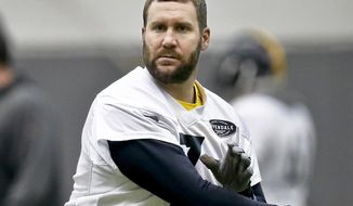 Pittsburgh Steelers quarterback Ben Roethlisberger (7) passes in drills during an NFL football practice, Friday, Jan. 12, 2018, in Pittsburgh. The Steelers host the Jacksonville Jaguars in a divisional playoff on Sunday. (AP Photo/Keith Srakocic)