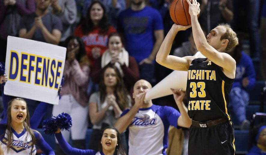 Wichita State guard Conner Frankamp (33) shoots unopposed in the second half of an NCAA basketball game against Tulsa in Tulsa, Okla., Saturday, Jan. 13, 2018. (AP Photo/Sue Ogrocki)