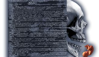Illustration on the penumbra of Constitutional interpretation and abortion by Alexander Hunter/The Washington Times