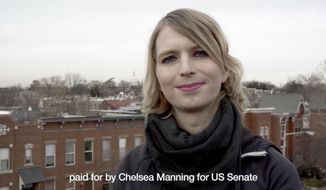 This frame from video released by the Chelsea Manning Senate campaign on Sunday, Jan. 14, 2018 shows Chelsea Manning in a campaign video. Manning on Sunday confirmed via Twitter that she is a candidate for U.S. Senate. (Chelsea Manning For US Senate via AP)