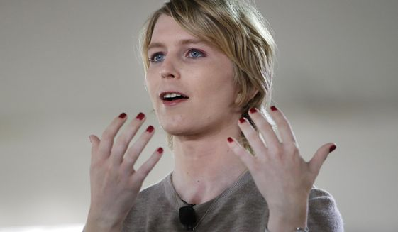 In this Sunday, Sept. 17, 2017 file photo, Chelsea Manning speaks during the Nantucket Project's annual gathering in Nantucket, Mass. (AP Photo/Steven Senne)