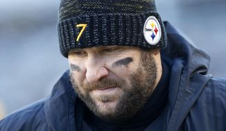 Pittsburgh Steelers quarterback Ben Roethlisberger (7) stands on the sideline during the second half of an NFL divisional football AFC playoff game against the Jacksonville Jaguars in Pittsburgh, Sunday, Jan. 14, 2018. (AP Photo/Keith Srakocic)