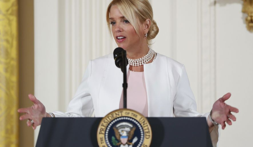 FILE - In this March 29, 2017, file photo, Florida Attorney General Pam Bondi speaks at the Women's Empowerment Panel, Wednesday, March 29, 2017, at the White House in Washington. Bondi wants new laws to protect people who report sexual misconduct, Agriculture Commissioner Adam Putnam wants to make sure the state is prepared for a higher than normal risk for wildfires and Chief Financial Officer Jimmy Patronis wants to expand worker compensation benefits for first responders to include posttraumatic stress disorder. While Florida's three Cabinet members can't sponsor or vote on bills, each is working with lawmakers to pass legislation. (AP Photo/Pablo Martinez Monsivais, File)
