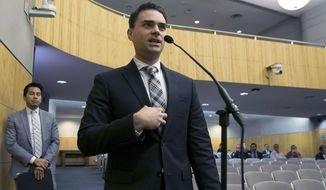 In this Oct. 3, 2017 file photo, conservative writer Ben Shapiro speaks during the first of several legislative hearings planned to discuss balancing free speech and public safety in Sacramento, Calif. (AP Photo/Rich Pedroncelli, File)  **FILE**