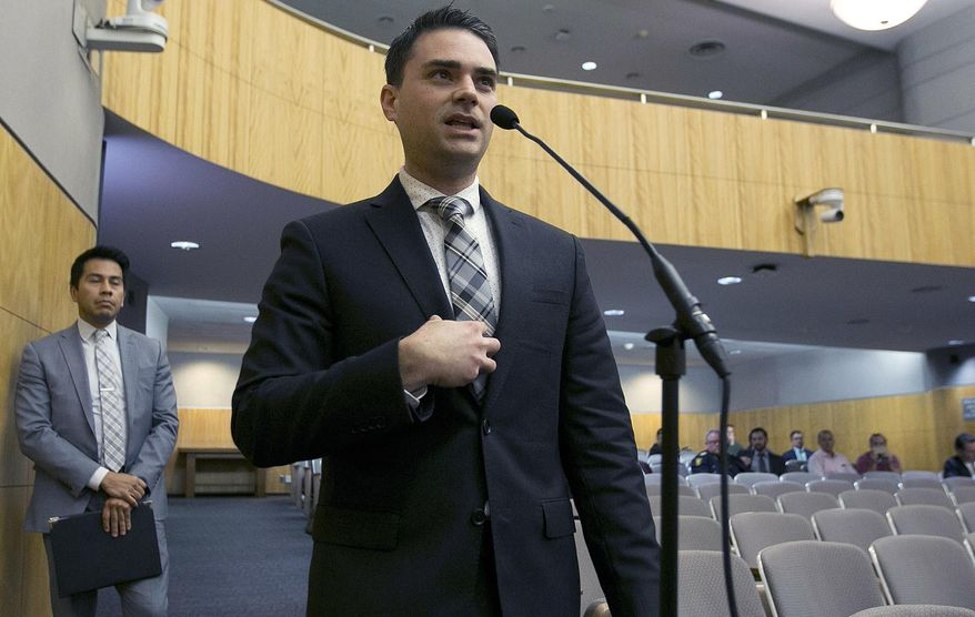 In this Oct. 3, 2017 photo, conservative writer Ben Shapiro speaks during the first of several legislative hearings planned to discuss balancing free speech and public safety in Sacramento, Calif. (AP Photo/Rich Pedroncelli, File)