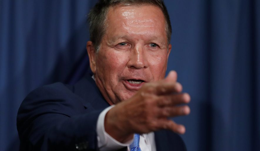 If duty calls: Ohio Gov. John Kasich is keeping people guessing about a 2020 primary challenge to President Trump. (Associated Press) ** FILE **