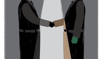 Illustration on an alliance between Irael and Saudi Arabia by Linas Garsys/The Washington Times