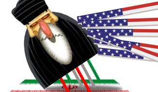 Illustration on supporting the Iranian uprising by Alexander Hunter/The Washington Times