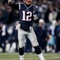 New England Patriots quarterback Tom Brady passes against the Tennessee Titans during the second half of an NFL divisional playoff football game, Saturday, Jan. 13, 2018, in Foxborough, Mass. (AP Photo/Charles Krupa)