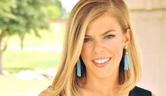 """A Georgetown University adviser has resigned after he tweeted that he wished a """"#metoo moment"""" on conservative blogger Allie Stuckey, pictured here. (Facebook/@Allie Beth Stuckey)"""