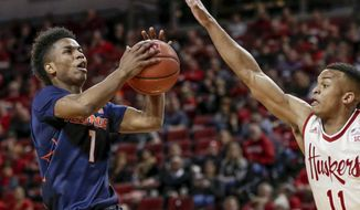 Illinois' Trent Frazier (1) drives to the basket against Nebraska's Evan Taylor (11) during the first half of an NCAA college basketball game in Lincoln, Neb., Monday, Jan. 15, 2018. (AP Photo/Nati Harnik)