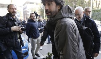 FILE - In this Monday, Nov. 20, 2017 file photo, Damiano Tommasi, president of the Italian Footballers' Association arrives for a meeting at the Italian Football Federation headquarters in Rome. Italian football federation president Carlo Tavecchio has resigned Monday, after failure to qualify for World Cup. Three candidates have stepped forward to replace Carlo Tavecchio as president of the Italian football federation. The candidates are: Gabriele Gravina, president of the Lega Pro (Serie C); Cosimo Sibilia, president of the Lega Nazionale Dilettanti (amateur league); and Damiano Tommasi, president of the Associazione Italiana Calciatori (footballers' association). The vote will be held in Rome in two weeks. (AP Photo/Andrew Medichini, File)
