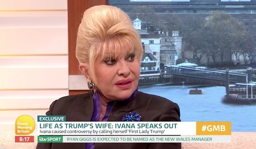 """President Trump's first wife Ivana Trump said Monday that her ex-husband is sharp as a tack, and while he may say """"silly"""" things from time to time he is """"definitely"""" not the racist many in the media are painting him to be. (ITV)"""