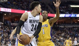 Memphis Grizzlies forward Dillon Brooks (24) controls the ball against Los Angeles Lakers guard Kentavious Caldwell-Pope (1) in the second half of an NBA basketball game Monday, Jan. 15, 2018, in Memphis, Tenn. (AP Photo/Brandon Dill)