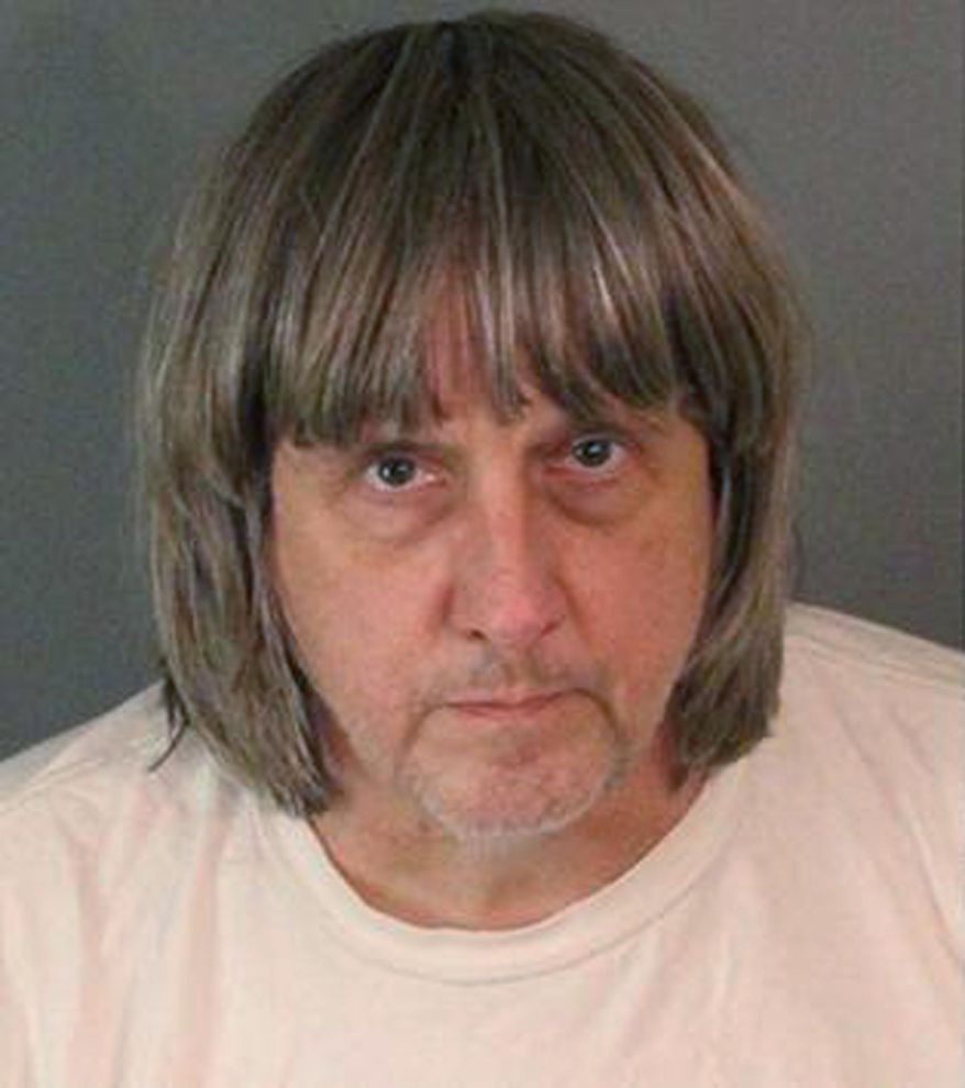 In this Sunday, Jan. 14, 2018, photo released by the Riverside County Sheriff's Department shows suspect David Allen Turpin. Authorities say an emaciated teenager led deputies to a California home where her 12 brothers and sisters were locked up in filthy conditions, with some of them malnourished and chained to beds. Riverside County sheriff's deputies arrested the parents David Allen Turpin and Louise Anna Turpin on Sunday. The parents could face charges including torture and child endangerment. (Riverside County Sheriff's Department via AP)