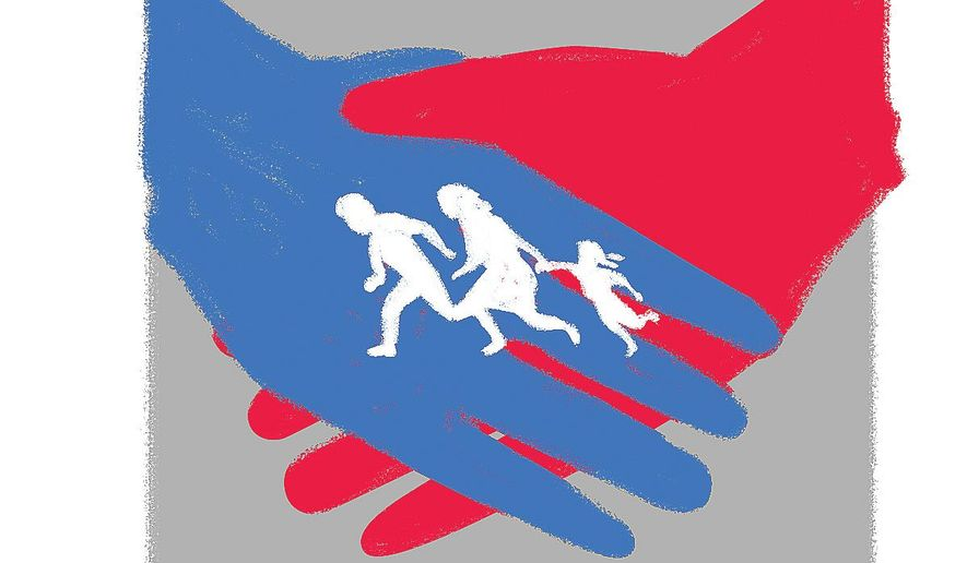 Illustration on the need for a bipartisan immigration deal by Linas Garsys/The Washington Times