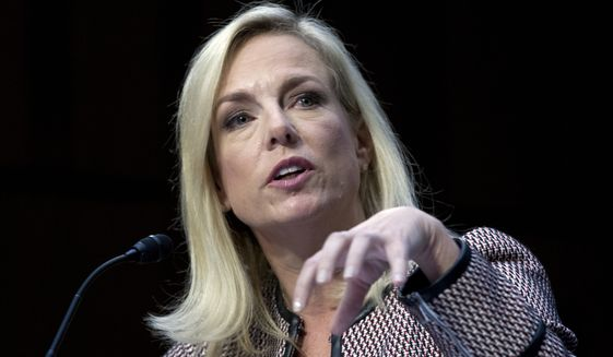 "Homeland Security Secretary Kirstjen Nielsen told the Senate Judiciary Committee on Tuesday, ""The Department of Justice is reviewing what avenues may be available."" (Associated Press)"