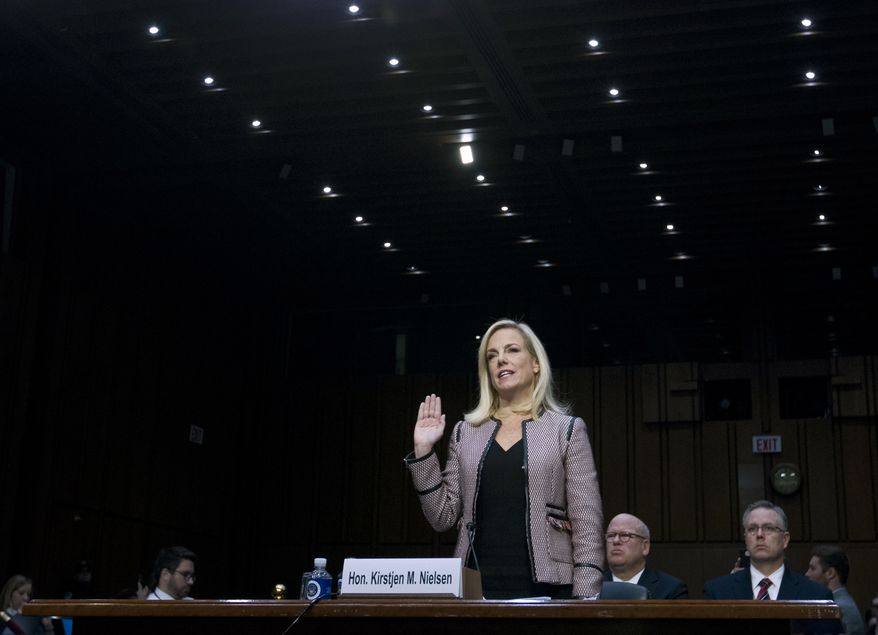 Homeland Security Secretary Kirstjen Nielsen is sworn in before the Senate Judiciary Committee on Capitol Hill, Tuesday, Jan. 16, 2018, in Washington. ( AP Photo/Jose Luis Magana)