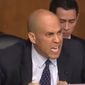 "Sen. Cory Booker harangues Homeland Security Secretary Kristjen Nielsen about President Trump's rhetoric, Jan. 16, 2018. The New Jersey Democrat told members of the Senate Judiciary Committee that he recently had ""tears of rage"" in his eyes over remarks attributed to Mr. Trump. (Image: CBS News screenshot)"