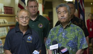 In this Saturday, Jan. 13, 2018, file photo, Vern Miyagi, Administrator, HEMA, left, and Hawaii Gov. David Ige addressed the media during a press conference at the Hawaii Emergency Management Center at Diamond Head Saturday following the false alarm issued of a missile launch on Hawaii. Gov. Ige has appointed state Army National Guard Brig. Gen. Kenneth Hara as new head of Hawaii's emergency management agency after a faulty alert was sent to cellphones around the state warning of an incoming missile attack. (George F. Lee/The Star-Advertiser via AP, file)