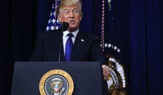 President Donald Trump speaks at the Conversations with the Women of America at the Eisenhower Executive Office Building on the White House complex in Washington, Tuesday, Jan. 16, 2018. (AP Photo/Manuel Balce Ceneta)