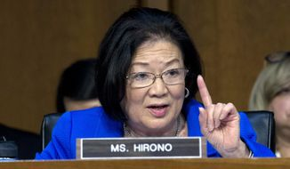 Sen. Mazie Hirono, D-Hawaii, questions Homeland Security Secretary Kirstjen Nielsen during a Senate Judiciary Committee hearing on Capitol Hill on Tuesday, Jan. 16, 2018, in Washington. (AP Photo/Jose Luis Magana) ** FILE **