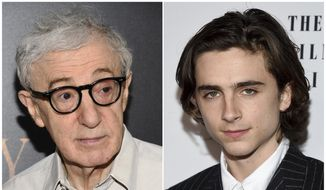 "This combination photo shows director Woody Allen at the premiere of ""Cafe Society in New York on, July 13, 2016, left, and Timothee Chalamet at the New York Film Critics Circle Awards on Jan. 3, 2018, in New York. A growing number of actors are distancing themselves from Allen, heightening questions about the future of the prolific 82-year-old filmmaker in a Hollywood newly sensitive to allegations of sexual misconduct. (Photos by Evan Agostini/Invision/AP)"
