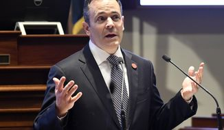 Kentucky Gov. Matt Bevin speaks to a joint session of the General Assembly at the Capitol, Tuesday, Jan. 16, 2018, in Frankfort, Ky. (AP Photo/Timothy D. Easley)