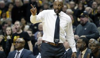 FILE - In this Jan. 6, 2018, file photo, Missouri head coach Cuonzo Martin gestures during the first half of an NCAA college basketball game against Florida, in Columbia, Mo. Martin hasn't coached at Tennessee since the 2013-14 season. The current Missouri coach will face his former team for the first time since he left for Cal on Wednesday night. (AP Photo/Jeff Roberson, File)