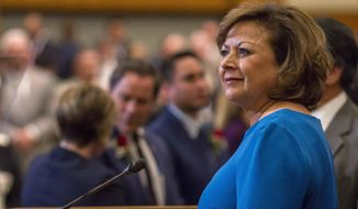 New Mexico Gov. Susana Martinez delivers her State of the State address on the first day of the New Mexico Legislature in the House chambers at the Capitol in Santa Fe, N.M., Tuesday, Jan. 16, 2018. (AP Photo/Juan Labreche)